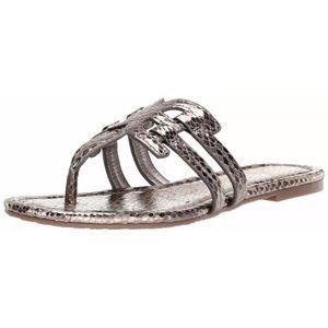 New Sam Edelman Cara pewter snake print sandals 6M